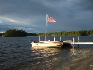 Flag over Watchic Lake dock