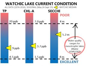Summary of Watchic Lake 1974 to 2016 Total Phosphorous, Chlorophyll-A, and Secchi (clarity) readings.