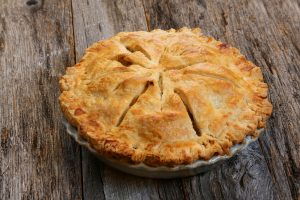 Delicious whole fresh baked rustic Apple Pie